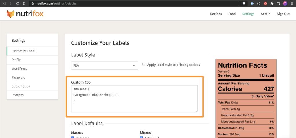 Screenshot of Nutrifox with the Custom CSS box circled in orange